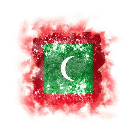 Square grunge flag of maldives. 3D illustration