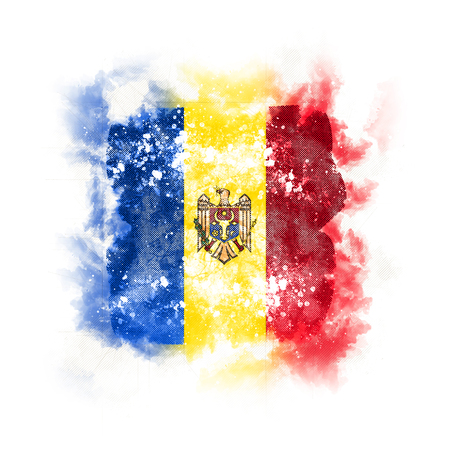 Square grunge flag of moldova. 3D illustration Stock Photo