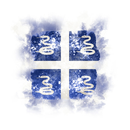 Square grunge flag of martinique. 3D illustration