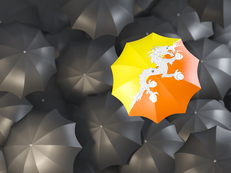 Umbrella with flag of bhutan on top of black umbrellas. 3D illustration