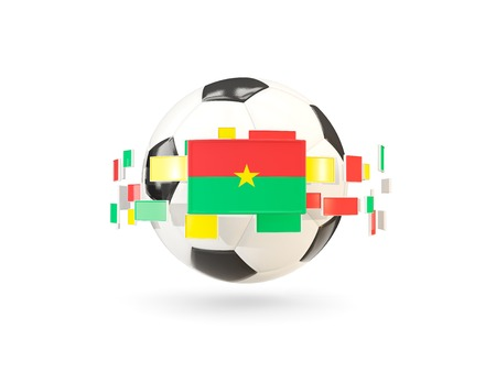 Soccer ball with flag of burkina faso floating around. 3D illustration