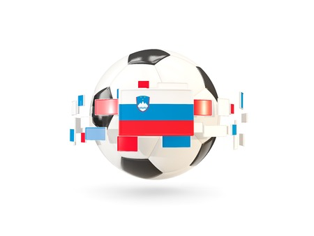 Soccer ball with flag of slovenia floating around. 3D illustration