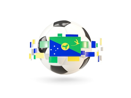 Soccer ball with flag of christmas island floating around. 3D illustration