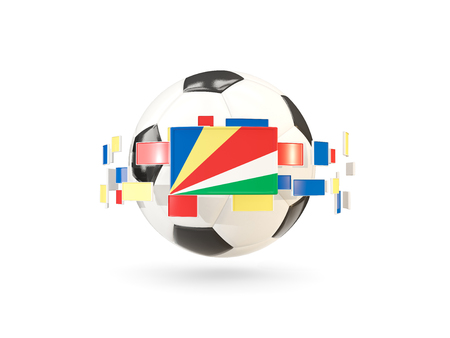Soccer ball with flag of seychelles floating around. 3D illustration Фото со стока