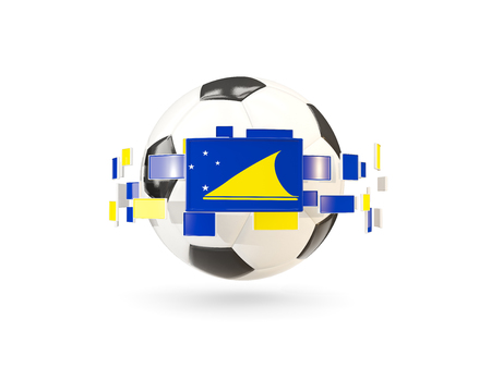 Soccer ball with flag of tokelau floating around. 3D illustration