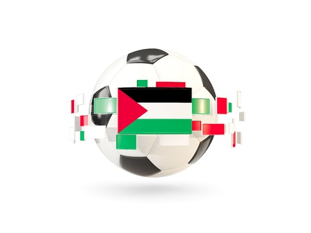 Soccer ball with flag of palestinian territory floating around. 3D illustration