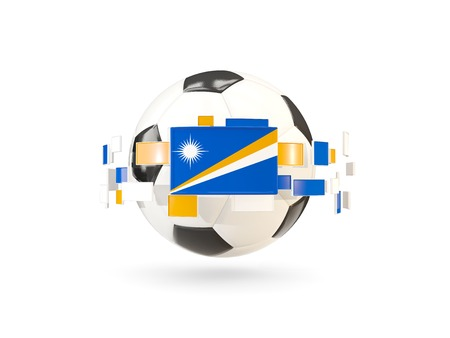 Soccer ball with flag of marshall islands floating around. 3D illustration