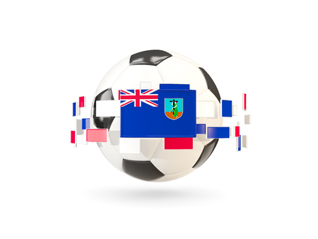 Soccer ball with flag of montserrat floating around. 3D illustration