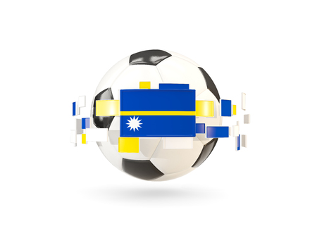 Soccer ball with flag of nauru floating around. 3D illustration Stock Photo