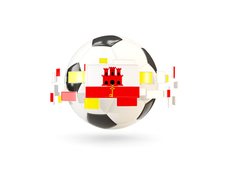 Soccer ball with flag of gibraltar floating around. 3D illustration Stock Photo