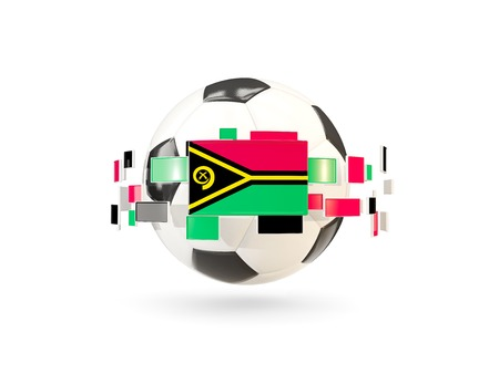 Soccer ball with flag of vanuatu floating around. 3D illustration