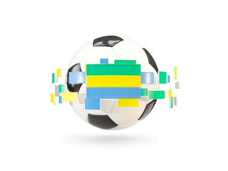 Soccer ball with flag of gabon floating around. 3D illustration Stock Photo
