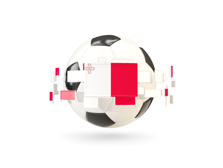 Soccer ball with flag of malta floating around. 3D illustration