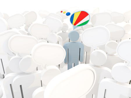 Man with flag of seychelles in a crowd. 3D illustration