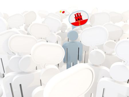 Man with flag of gibraltar in a crowd. 3D illustration