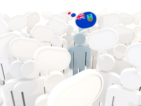 Man with flag of montserrat in a crowd. 3D illustration Stock Photo