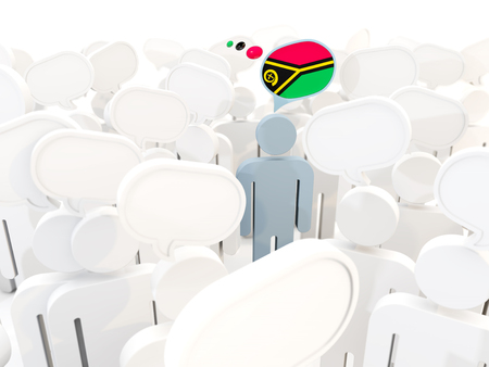 Man with flag of vanuatu in a crowd. 3D illustration