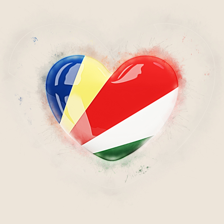Heart with flag of seychelles. Grunge 3D illustration