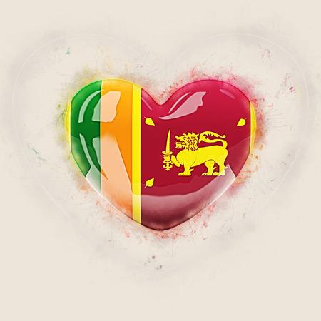 Heart with flag of sri lanka. Grunge 3D illustration