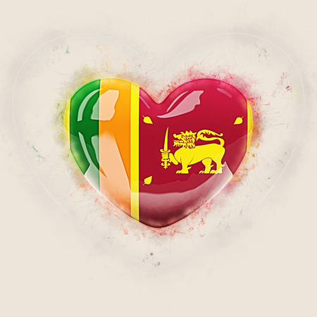 Heart with flag of sri lanka. Grunge 3D illustration