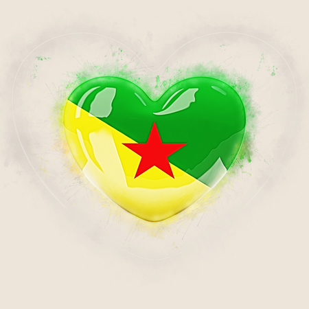 Heart with flag of french guiana. Grunge 3D illustration Stock Photo