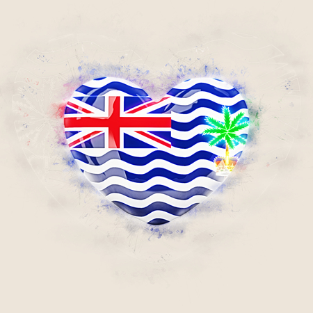 Heart with flag of british indian ocean territory. Grunge 3D illustration Stock Photo