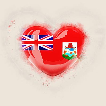 Heart with flag of bermuda. Grunge 3D illustration Banco de Imagens