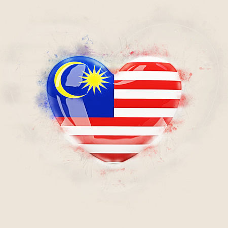 Heart with flag of malaysia. Grunge 3D illustration
