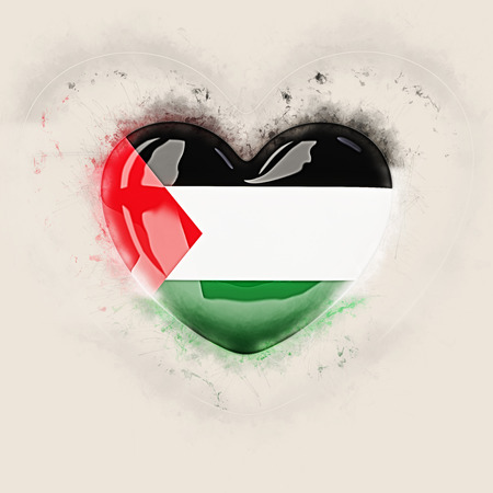 Heart with flag of palestinian territory. Grunge 3D illustration Stock Photo