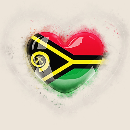 Heart with flag of vanuatu. Grunge 3D illustration Stock Photo