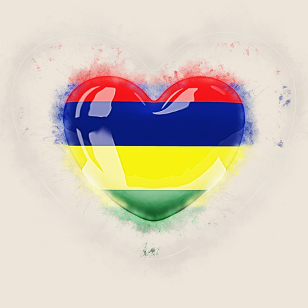 Heart with flag of mauritius. Grunge 3D illustration Stock Photo