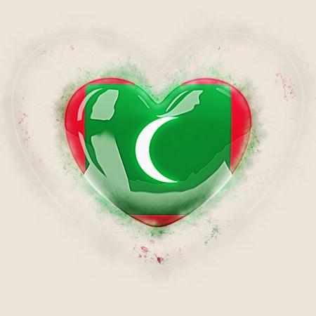 Heart with flag of maldives. Grunge 3D illustration