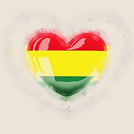 Heart with flag of bolivia. Grunge 3D illustration Reklamní fotografie