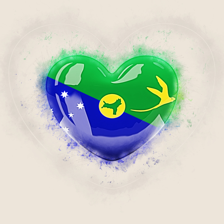 Heart with flag of christmas island. Grunge 3D illustration