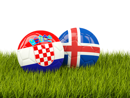 Croatia vs Iceland. Soccer concept. Footballs with flags on green grass. 3D illustration