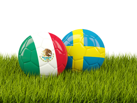 Mexico vs Sweden. Soccer concept. Footballs with flags on green grass. 3D illustration