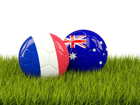 France vs Australia. Soccer concept. Footballs with flags on green grass. 3D illustration