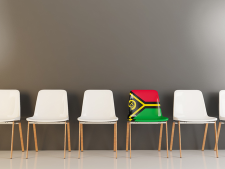 Chair with flag of vanuatu in a row of white chairs. 3D illustration
