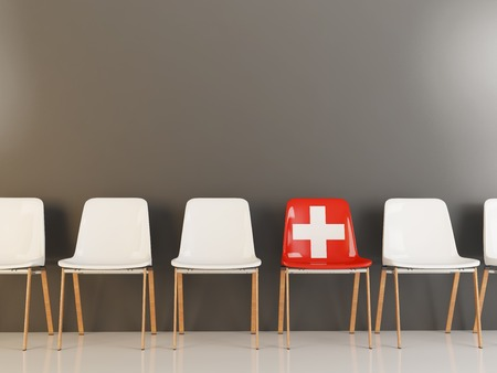 Chair with flag of switzerland in a row of white chairs. 3D illustration Banque d'images - 101418711