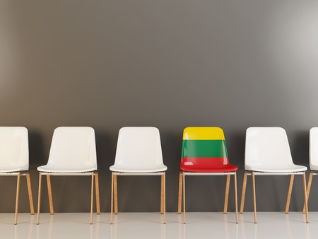 Chair with flag of lithuania in a row of white chairs. 3D illustration