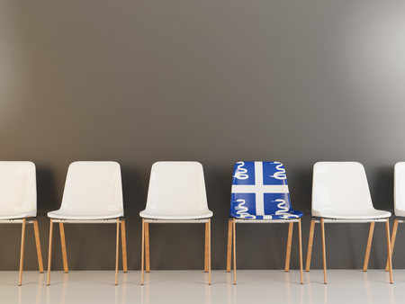 Chair with flag of martinique in a row of white chairs. 3D illustration