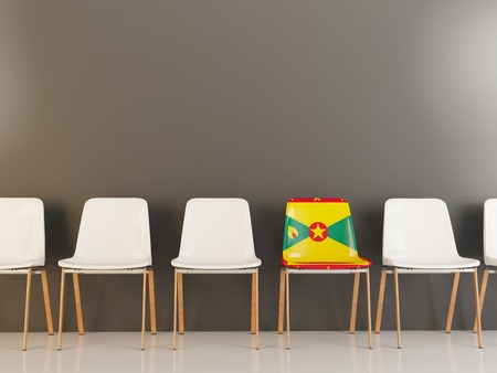 Chair with flag of grenada in a row of white chairs. 3D illustration