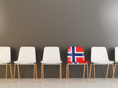 Chair with flag of norway in a row of white chairs. 3D illustration