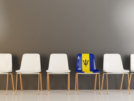 Chair with flag of barbados in a row of white chairs. 3D illustration