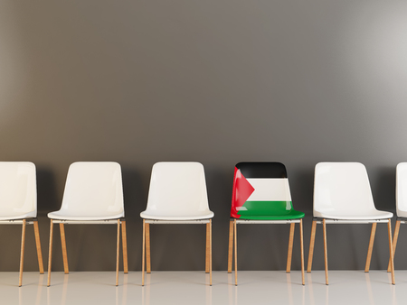Chair with flag of palestinian territory in a row of white chairs. 3D illustration Stock Photo