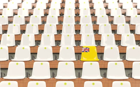 Stadium seat with flag of niue in a row of white chairs. 3D illustration Stock Photo