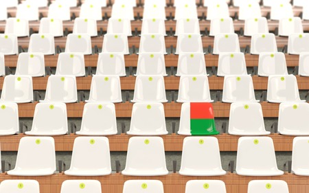 Stadium seat with flag of madagascar in a row of white chairs. 3D illustration