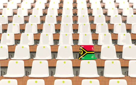 Stadium seat with flag of vanuatu in a row of white chairs. 3D illustration