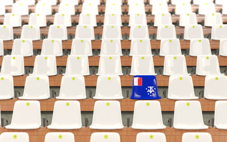 Stadium seat with flag of french southern territories in a row of white chairs. 3D illustration Stock Photo
