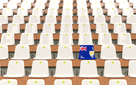 Stadium seat with flag of anguilla in a row of white chairs. 3D illustration